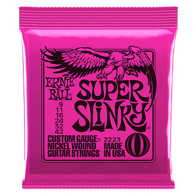 Ernie Ball Super Slinky Nickel Wound Electric Guitar Strings .009-.042 • 6.50£