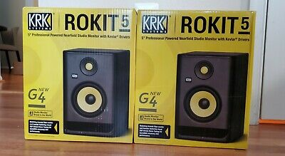2 NEW KRK Rokit 5 G4 RP5G4 Powered Monitors & 2 Hosa Pro Ser 10 Ft XLR Cables • 245.73£