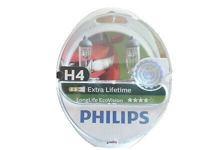 Philips Long Life Ecovision H4 Car Headlight Bulbs (Twin Pack) 12342LLECOS2 • 9£