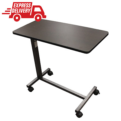 Over The Bed Side Table Wheels Hospital Overbed Rolling Tray Adjustable Bedside • 43.72£