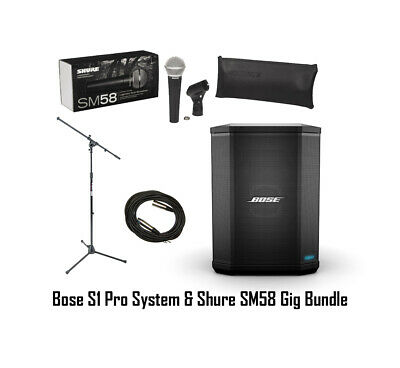 Bose S1 Pro Acoustic Busking Portable PA System W/ Shure SM58 + Mic Stand +Cable • 470.33£