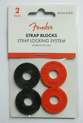 FENDER Strap Blocks 2 Pair Black/Red • 10.40£