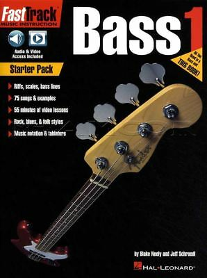Fast Track Bass Guitar 1 TAB & Music Book/Audio/Video Starter Pack Riffs Scales