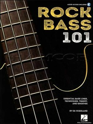 Rock Bass Guitar 101 Music Book/Audio Essential Bass Lines Techniques Theory