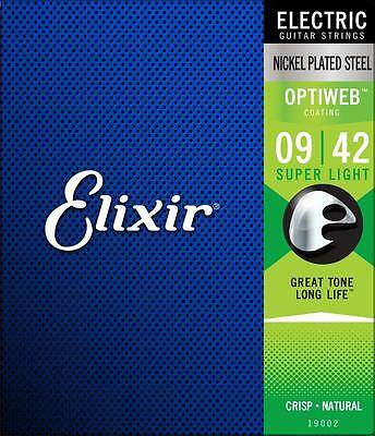 Elixir Electric Optiweb Super Light 9-42 Electric Guitar Strings P/No:- E19002   • 12.95£