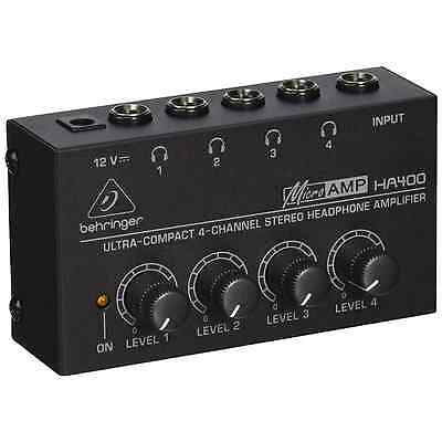 Behringer HA400 4-Channel Micro Headphone Amplifier, Stereo | Free UK Delivery • 19.99£