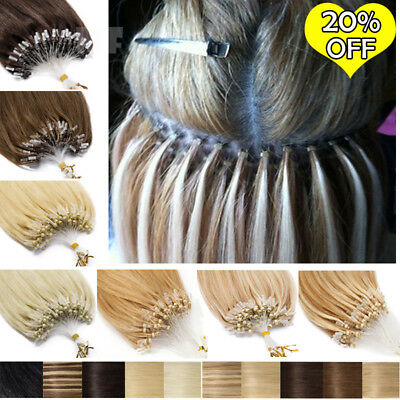 Russian 8A Micro Loop Ring Beads Remy Human Hair Extensions THICK 200S Highlight • 86.11£