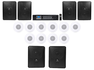 JBL Commercial Sub+ 4 Satellite+ Wall Speakers+350w Amp For Office//Store//Gym 4