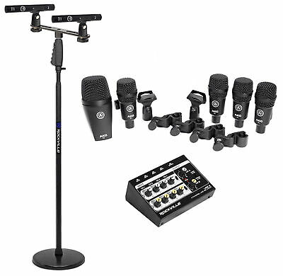 AKG Drum Set Session I (7) Microphone Kit W/ Bass/Overhead/Snare/Tom+Stand+Mixer • 331.09£