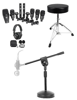 AKG Drum Set Session I (7) Mics Bass/Overhead/Snare/Tom+Throne+Stand+Headphones • 326.28£