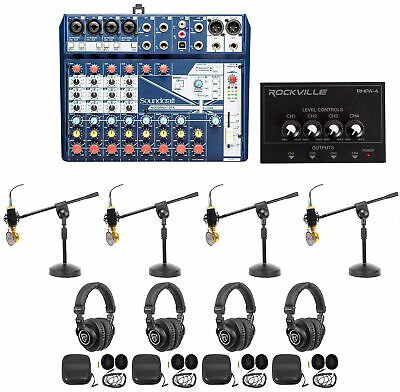 Soundcraft 4-Person Podcast Podcasting Recording Kit Mics+Headphones+Boom Stands • 352.15£