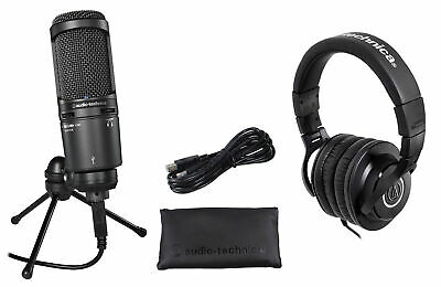 Audio Technica Gaming Streaming Twitch Bundle: AT2020USB Mic+Headphones+Stand • 164.93£