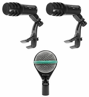 AKG D112 MKII Kick Drum Bass Guitar Microphone+(2) Audio Technica Tom Mics • 194.99£