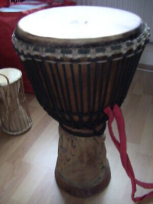 Vintage African  Hand Carved Wooden Djembe • 100£