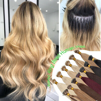 Indian 8A THICK Nano Ring Bean Human Remy Hair Extensions Micro Loop Weave 300S • 121.95£