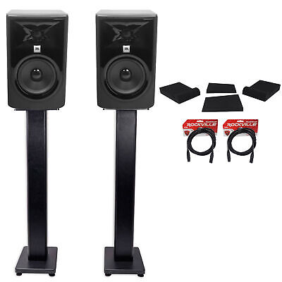 (2) JBL 305P MkII 5  Powered Studio Monitors+Stands+Isolation Pads+XLR Cables • 276.92£