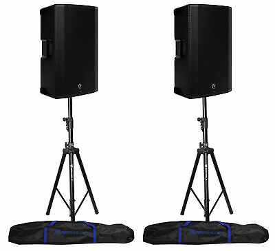 2 Mackie Thump15BST THUMP-15BST 15  1300w Active DJ PA Speakers+Hydraulic Stands • 800.44£