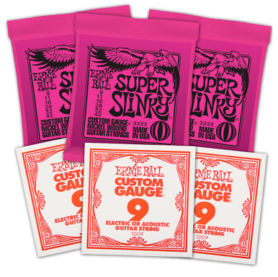 3 X Packs Ernie Ball 2223 Super Slinky With 3 X Extra Top E Strings. VALUE PACK • 20£