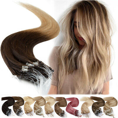1G/S Micro Loop Ring Beads Tip Weft Human Remy Hair Extensions Pre Bonded 12-24  • 81.24£