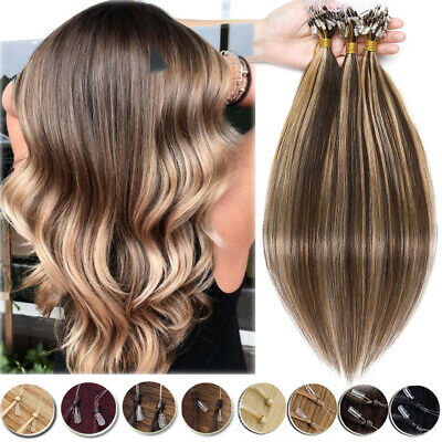 12 -24  Remy Micro Ring Easy Loop Tip Human Hair Extensions Full Head Thick 150G • 72.88£