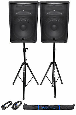 (2) JBL Pro JRX215 1000W 15  Passive PA Speakers + 2)Stands+2)Cables+Carry Case • 458.27£