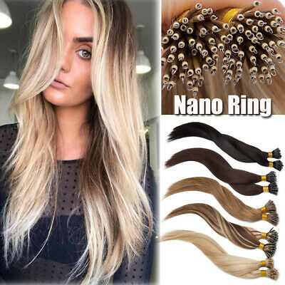 Nano Tip Ring 1G/S Remy Human Hair Extensions Russian Micro Bead Thick Full Head • 109.71£