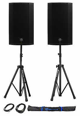 (2) Mackie Thump12A THUMP-12A 12  1300w Powered DJ PA Speakers+Stands+Cables+Bag • 463.06£