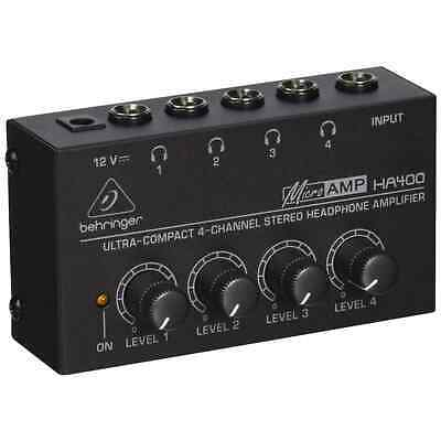 Behringer HA400 4-Channel Micro Headphone Amplifier, Stereo   Free UK Delivery • 22.99£