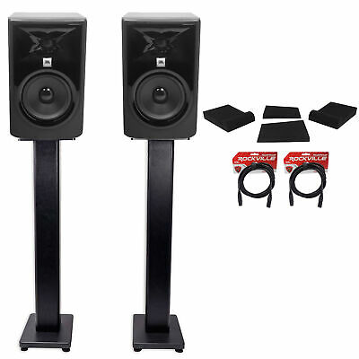 (2) JBL 305P MkII 5  Powered Studio Monitors+Stands+Isolation Pads+XLR Cables • 287.21£