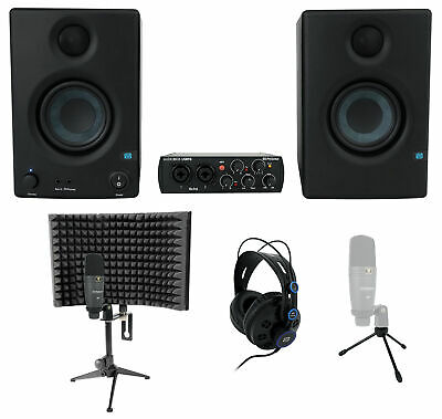PRESONUS AudioBox 96 Studio Ultimate BK Interface+Headphones+Mic+Monitors+Shield • 245.98£