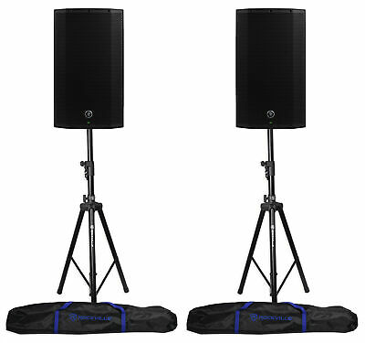 (2) Mackie Thump12A THUMP-12A 12  1300w Powered DJ PA Speakers+Hydraulic Stands • 513.71£