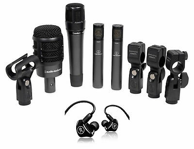 Audio Technica ATM-DRUM4 Drum Microphone Kit W/(4) Mics+Mackie In-Ear Monitors • 388.40£
