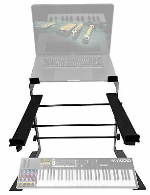 Rockville Dual Shelf Laptop+Controller Stand for M-Audio Code 61 Keyboard