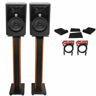 (2) JBL 305P MkII 5  Studio Monitors+36  Stands+Isolation Pads+XLR Cables • 287.21£