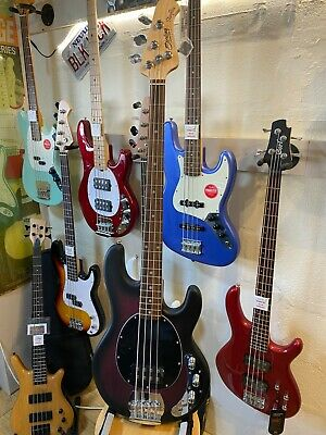 Sterling by Music Man Sub Ray4 Electric Bass Guitar Ruby Red Burst Satin