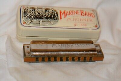 Harmonica, #2   M. Hohner Marine Band made in Germany key of B W/Case
