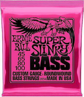 Ernie Ball 2834 Super Slinky Bass Guitar Strings 45 -100 • 22.46£
