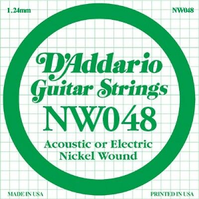 D'Addario Nickel Wound Single Guitar Strings 5 X 048.P/No:-NW048 • 8.95£