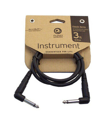 D'Addario Planet Waves Guitar Patch Cable Lead 3ft Right Angle PW-CGTPRA-03