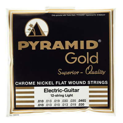 Pyramid Gold Flatwound 12 String 10-46.5 Guitar Strings Flat Wound Set Pack