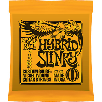 Ernie Ball 2222 Nickel Hybrid Slinky Electric Guitar Strings .009 -.046 • 3.90£