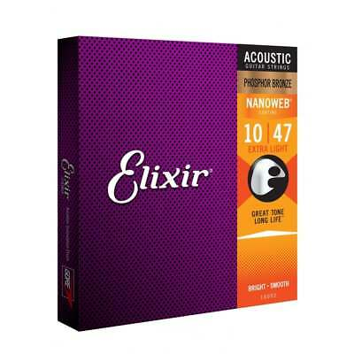 Elixir Nanoweb E16002 Phosphor Bronze Acoustic Guitar Strings 10-47 Extra Light • 16.49£