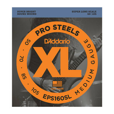 D'Addario EPS160SL ProSteels Bass Guitar Strings 50-105 Super Long Scale • 22.50£