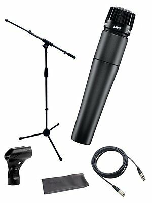 Shure*SM57-LC+STAND+CABLE*Microphone Bundle Boom Stand &  XLR Cable FREESHIP NEW • 108.65£
