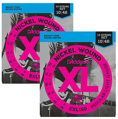 D'Addario EXL150 Nickel Wound Electric Guitar Strings, 12-String, 10-46 (2 Pack) • 18.69£