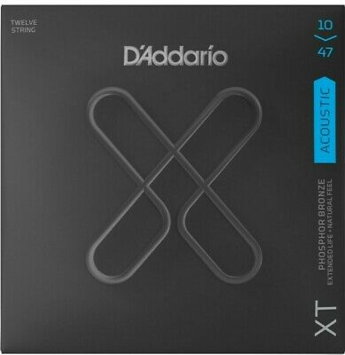 D'Addario XTAPB1047-12 12 Strings Acoustic Guitar Phosphor Bronze Ex Light 10-47 • 22.50£