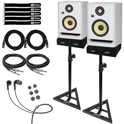 KRK ROKIT 5 G4 RP5G4 5  Active Bi-Amp Studio Monitor Speakers White W TRS Cables • 314.31£