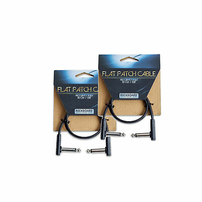 RockGear RockBoard Flat Patch Cable Black 30cm (11.81 ) 2 Pack Bundle • 8.97£