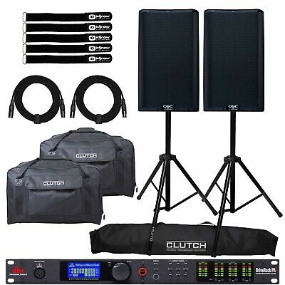 QSC K12.2 12  Powered DJ PA Speakers Pair W DBX Driverack System & Stands Packa • 1,370.32£