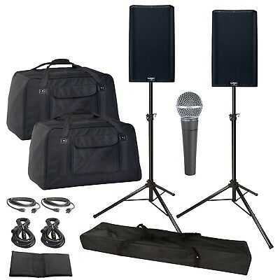 QSC K12.2 Series 12  2-Way Active DJ PA Speakers Pair W Stands & Cases K12 • 1,289.86£